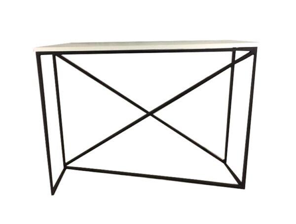 konsola biała luce, konsola, metalowa podstawa, styl industrialny, styl nowoczesny (2)