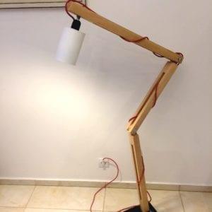 dębowa industrialna lampa ortez biała