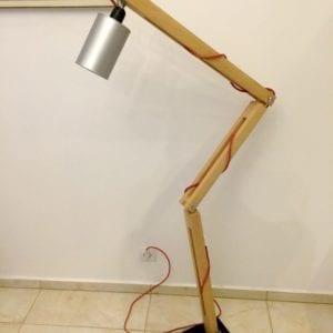 dębowa industrialna lampa ortez srebrna