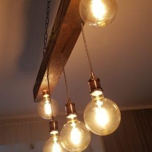wisząca lampa rustykalna kora