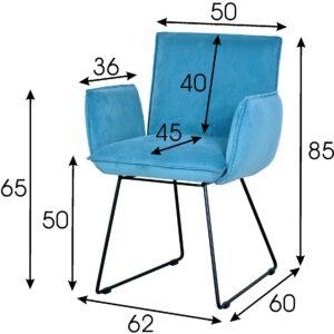 niebieskie krzesło welurowe vista