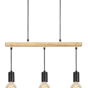 lampa industrialna wisząca drewniana