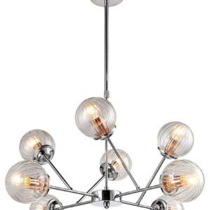 lampa wisząca srebrna osiem kloszy