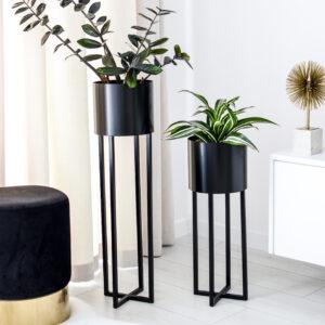 Donice stojące czarne komplet