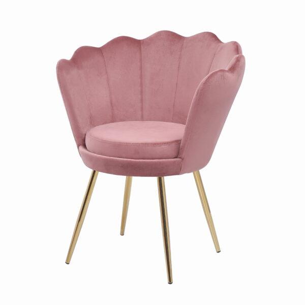 fotel muszelka różowy
