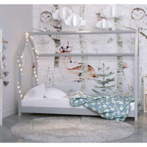 Łóżko domek dziecięce szare Bella