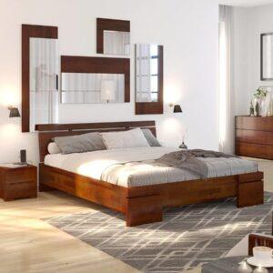 Łóżko drewniane sosnowe Wood wysokie