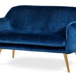 niebieska ławka welurowa