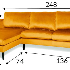 żółta sofa welurowa