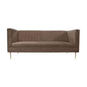 sofa welurowa brązowa