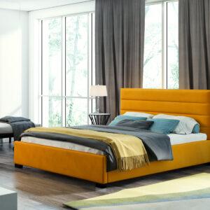 łóżko tapicerowane musztardowe